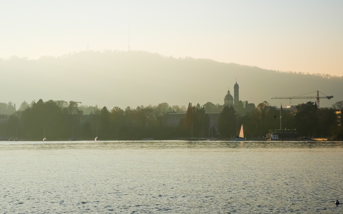 Zurich Lake during sunset