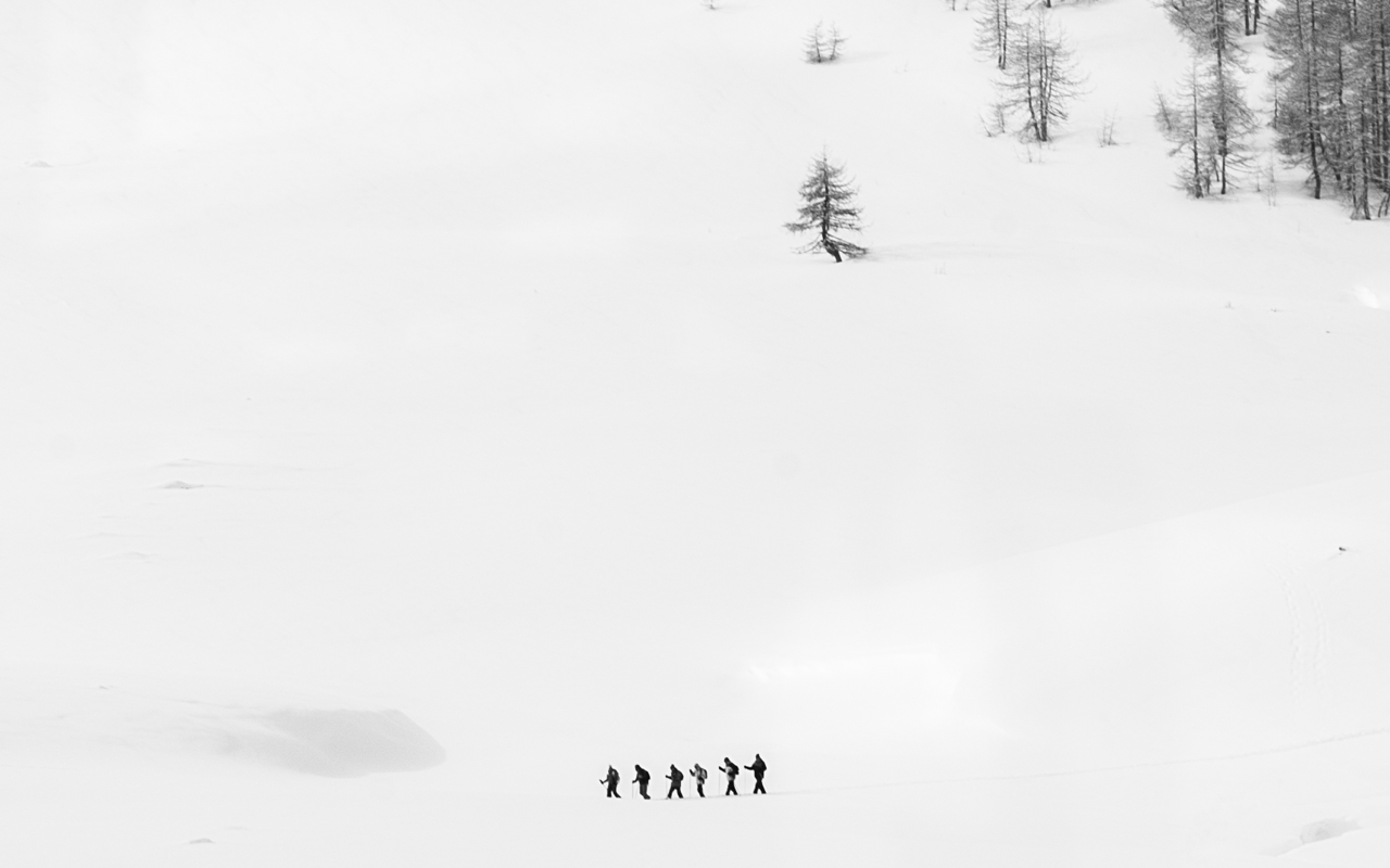Cross country Skiers spotted from our train. Photo by Herr Hallo title=Winter Sports