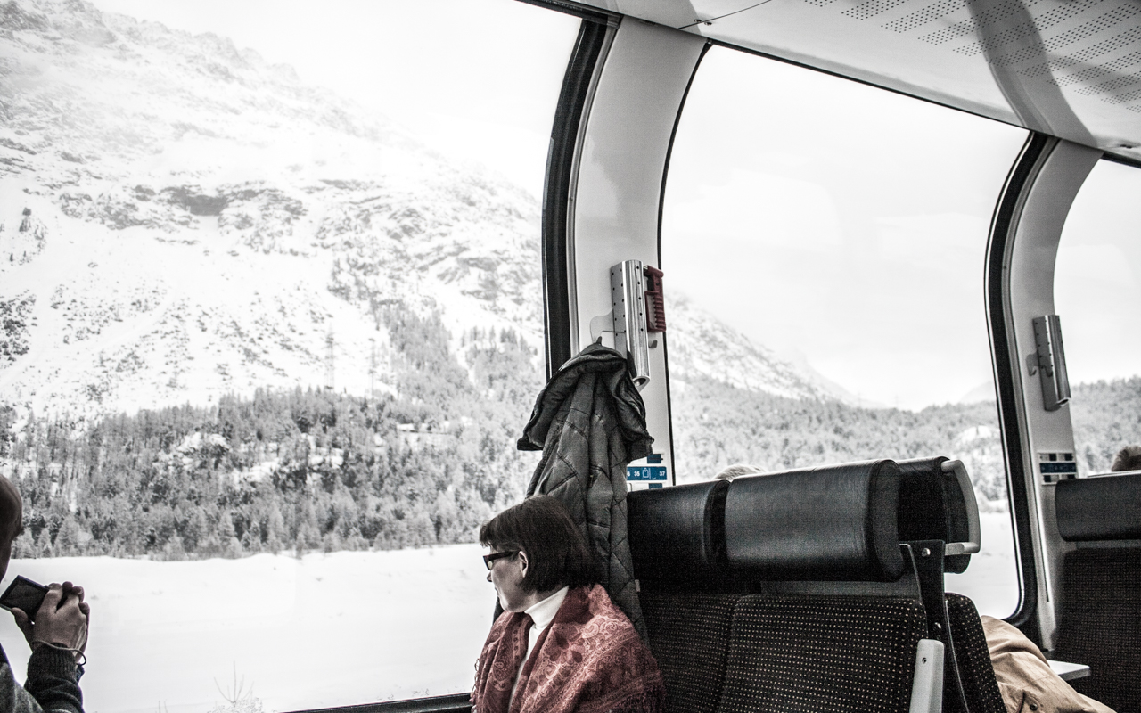 Bernina Express - from the inside. title=Large windows for panoramic view