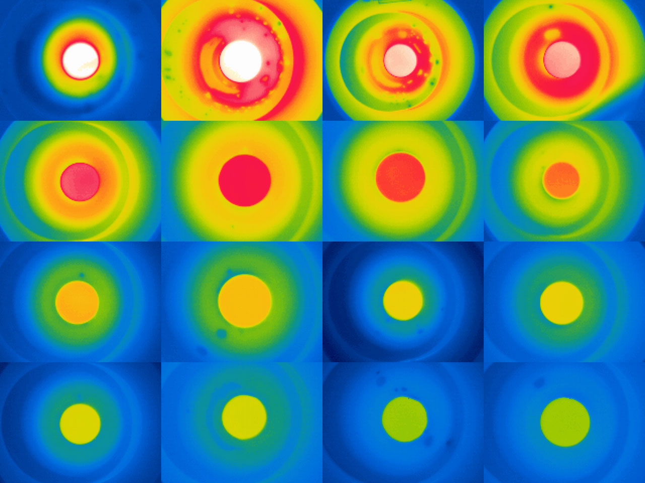 16 thermal images of open lid of the SIGG bottle (chronological from left to right, top to bottom