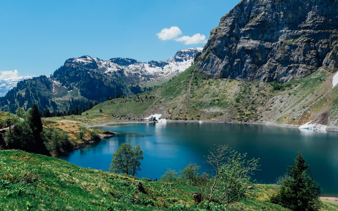 First sight of Oberblegisee after burning under the scorching sun.