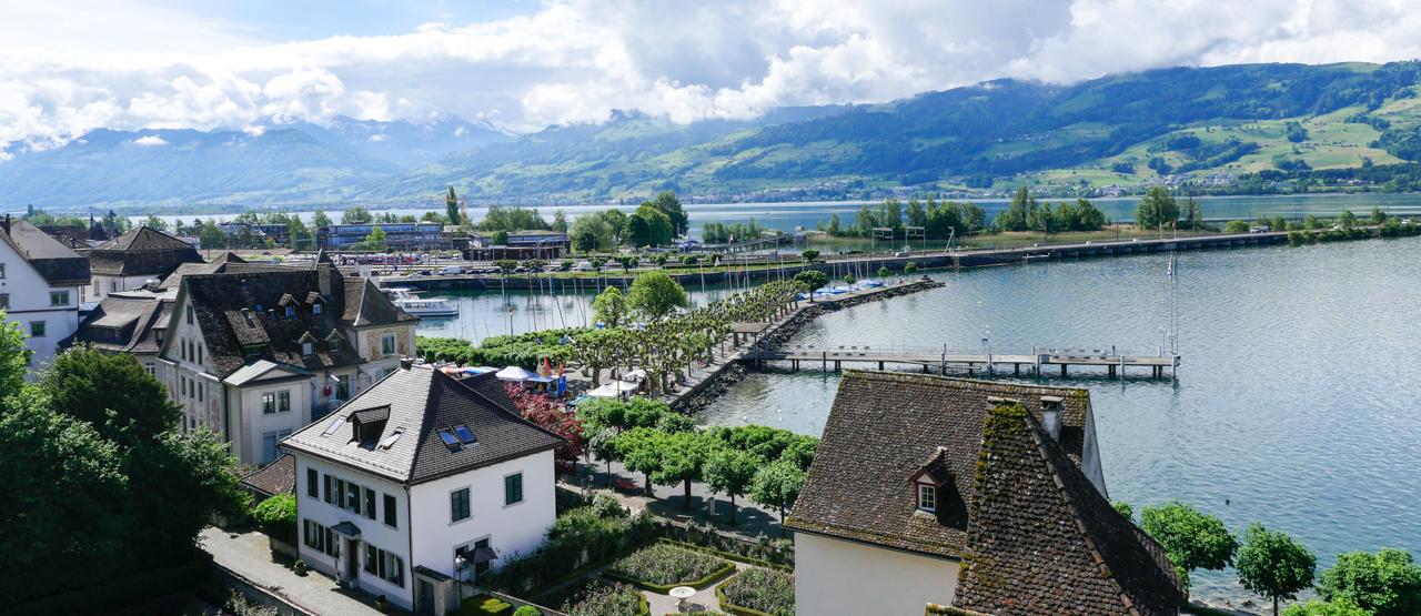 Panorama view from Rapperswil Castle. title=Panorama view from Rapperswil Castle.