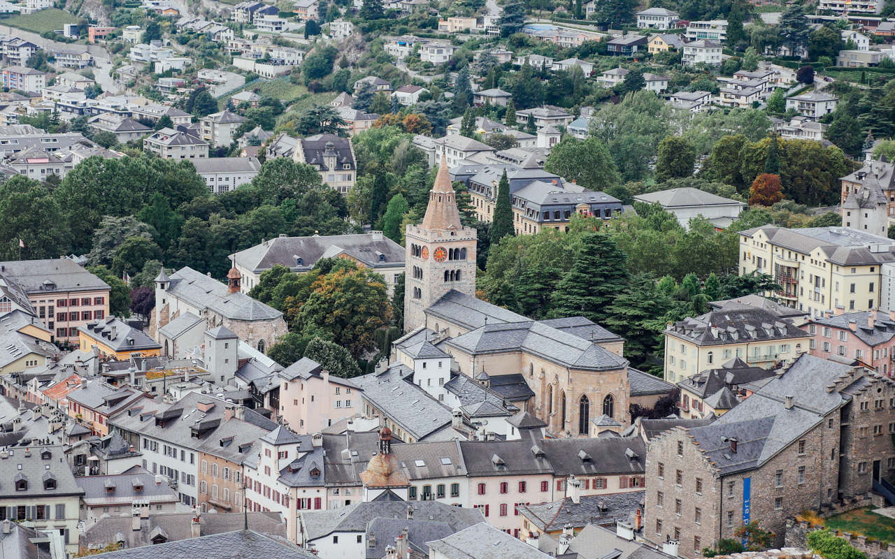 Old town Sion from Basilique de Valère