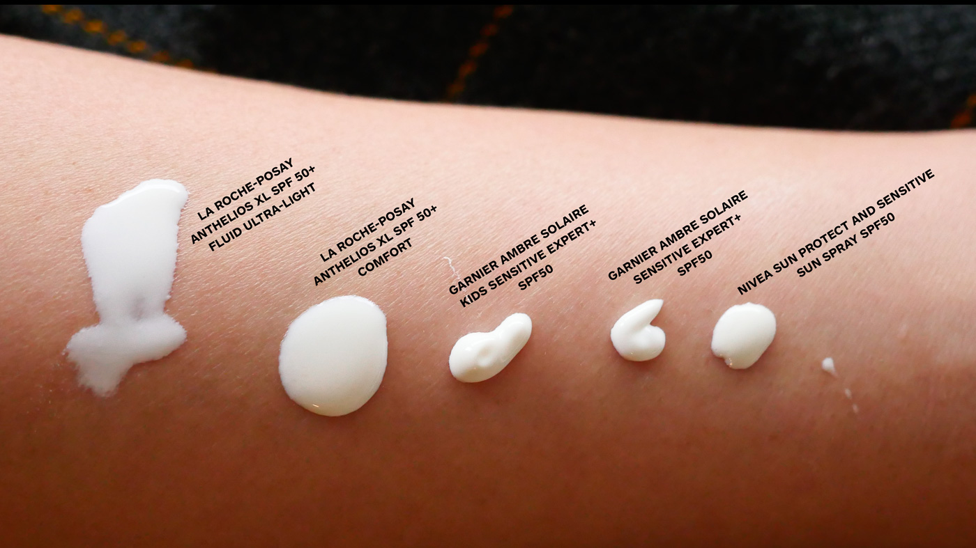 Sunscreen consistency comparison.